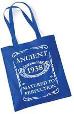 79th regalo di compleanno Tote Shopping Borsa IN COTONE antica 1938 INVECCHIATA ALLA PERFEZIONE
