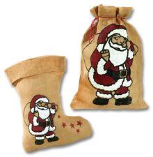 Nikolaussack Nikolausstiefel Weihnachtsstiefel Jutesack mit Motiv Weihnachtsmann