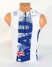 K-Swiss Kwick Dri Australia White & Blue 1/2 Zip Sleeveless Cycling Jersey Mens