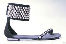 new $1125 GIUSEPPE ZANOTTI for BALMAIN black STUDDED GLADIATOR flat shoes