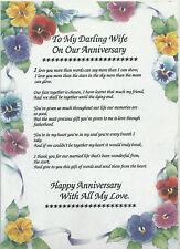 Wedding Anniversary Poem Verse Rhyme A4 Laminated Keepsake Gift Wife 1st 25th +