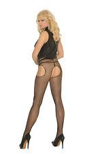 Elegant Moments, Black Fishnet Suspender Tights, 8-18, Crotchless, Pantyhose