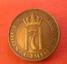 NORWAY -HAAKON  VII - BRONZE 1 ORE 1929 KM #  367 -X.F