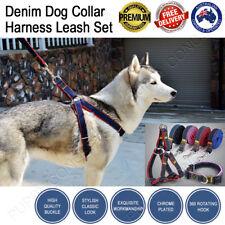 Adjustable Dog Collar Harness Leash Set Cowboy Jeans Denim No Pull Nylon Rope