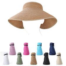Women Packable Roll-up Wide Visor Straw Sun Hat Foldable  Beach Summer Brim cap