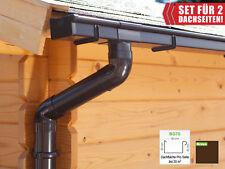 Dachrinnenset | Satteldach (2 Dachseite) | Kastenrinnen | braun (Regenrinnen)