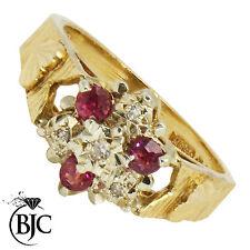 BJC® 9ct Yellow gold Ruby & Diamond cluster size J engagement dress ring R27