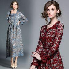 women's fashion temperament Floral lace tunic hollow out A-line long Dress vogue