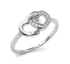 Ring Herzen 925 Sterling Silber 15 Zirkonia Silberring Verlobungsring Herz Damen