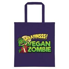 Tote Bag Vegan Vegetarian Zombie Dark Purple 38x42cm
