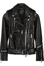 Genuine Soft Lambskin Leather Classic Moto Biker Jacket
