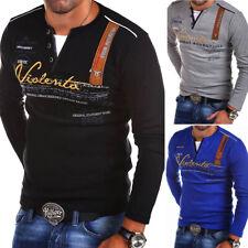 Herren Longsleeve 2in1 T-Shirt Pullover Sweatshirt Langarm-Shirt Poloshirt NEU