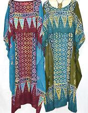 New RIMBA Buttersoft Batik Kaftan Maxi Dress Tunic One Size Plus Boho Hippie