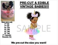 PRE-CUT Pastel Rainbow Unicorn Princess Afro Puffs EDIBLE Cake Topper Image Baby
