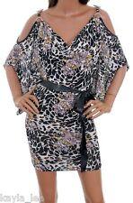 Black/Gray Off/Split Bead Shoulder Tunic Top/Mini Dress