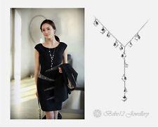Crystal Cubics Long Necklace/Swarovski Elements/White gold/RGN525