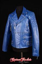 Para Hombre « carretera Azul Motocicleta Moto Cruiser motociclista de cuero de vaca Chaqueta