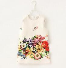 Vestido de verano chicas Jacquard Floral sin mangas con flores 2/3/4/5/6/7/8/9