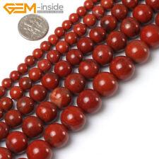 """Natural Gemstone Dark Red Jasper Round Beads For Jewellery Making Strand 15"""" UK"""