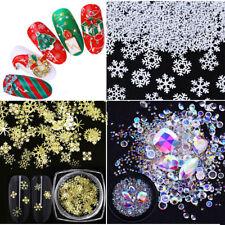 Christmas Nail Art Glitter Sequins Rhinestones Xmas 3D Nail Art Decoration Tips
