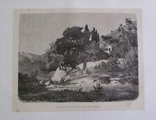 1877:FIUME ORETO NELLA CONCA D'ORO VICINO PALERMO.ITALIA.Xilo in Passepartout