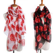 Women Lady Poppy Print Floral Scarf Remembrance Day Poppies Scarves Wrap Shawl B