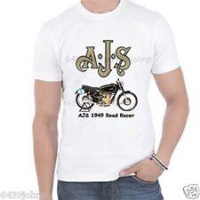 AJS 1949 ROAD RACER, BIKER ENTHUSIAST QUALITY HEAVY COTTON T SHIRT