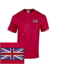 British Flag EMBROIDERED Union Jack Red T- Shirt England UK *NEW*