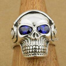 925 Sterling Silver Purple CZ Eye DJ Skull Studio Music Headphone Men Ring 8Y411