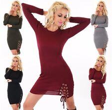 Damen Strickpullover Pulli Kleid Minikleid Pullover Longshirt Sweater Schnürung