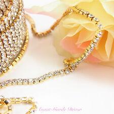 1mtr x 2.5-4mm Rhinestone Silver/Gold Chain Diamante Crystal Craft Decoration