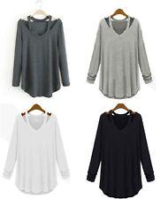 Mujer Informal Camiseta Manga Larga Cuello en 'V' Holgado Suéter Blusa Jersey