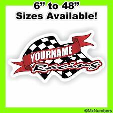 Custom Your Name Racing Decals Trailer Truck MX ATV Race Car Go Kart Sprint IMCA