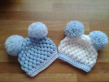 Baby Boys Double Pompom Hat Handmade Crochet FREE POSTAGE