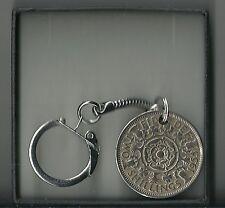 Florin / 2 Shilling Elizabeth (1952-1967)Coin Keyring - Gift Box-Free UK Postage