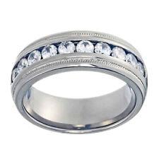 7.5mm Solid Titanium Textured Step Edge Round Cubic Zirconia Men's Wedding Ring