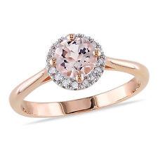 Amour 10k Pink Gold 4/5 Ct TGW Morganite and 1/10 Ct TDW Diamond Ring H-I I2-3