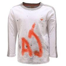 7418S maglia bimbo ARMANI JUNIOR grigio/bianco/arancio t-shirt long sleeve kid