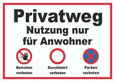 Privatweg Anwohner Durchfahrt Schild, Keine Druchfahrt, Nur für Anwohner, Privat