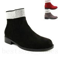 Ladies Women Diamante Chelsea Ankle Boots Low Block Heel Boots Office Shoes Size