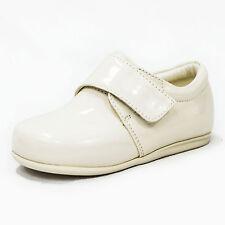 Zapatos Bebé Chicos Formal Boda Paje Bautizo Correa De Patente Negro o Crema