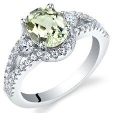 Green Amethyst Sterling Silver Keepsake Ring Sizes 5 to 9