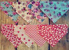 Handmade Floral Hearts Dog Bandana Slide on Collar Neckerchief Scarf Gift