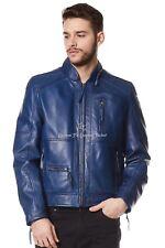 Mens Leather Jacket Blue 100% REAL NAPA Zip Collar Biker Style Jacket 9056