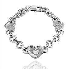Armreif Armband 18K Weißgold HERZEN HERZ Silber Damen Armband Panzerarmband