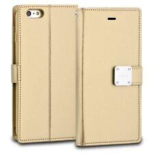 Premium Bi-Fold Card Cash Holder Strap Cover Case for Apple Samsung - Gold