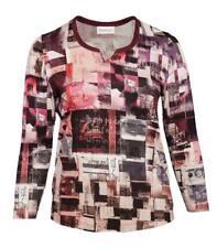 Chalou Damen Langarmshirt atmungsaktiv Übergröße Bordeaux-Rot lang arm t shirt