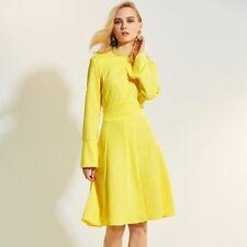 Elegante vestito abito corto maniche  giallo scampanato estivo comodo 4305
