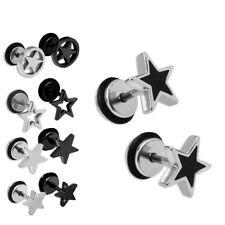 1 Paar Fake Plugs Fakeplugs Plug Stern Sterne Edelstahl Ohrstecker Ohrring