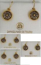 by Midas of Toledo Spain 8102 Damascene Gold Star Design Round Drop Earrings